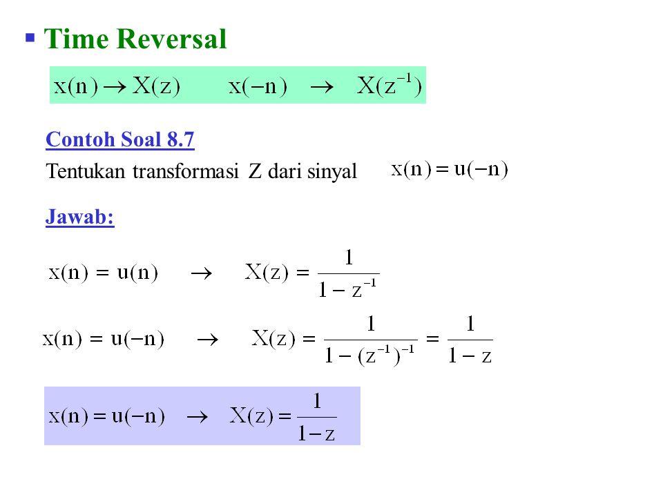 Time Reversal Contoh Soal 8.7 Tentukan transformasi Z dari sinyal