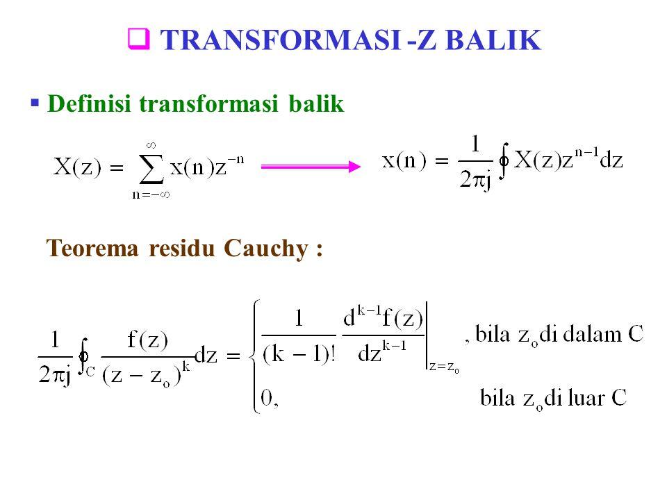 TRANSFORMASI -Z BALIK Definisi transformasi balik