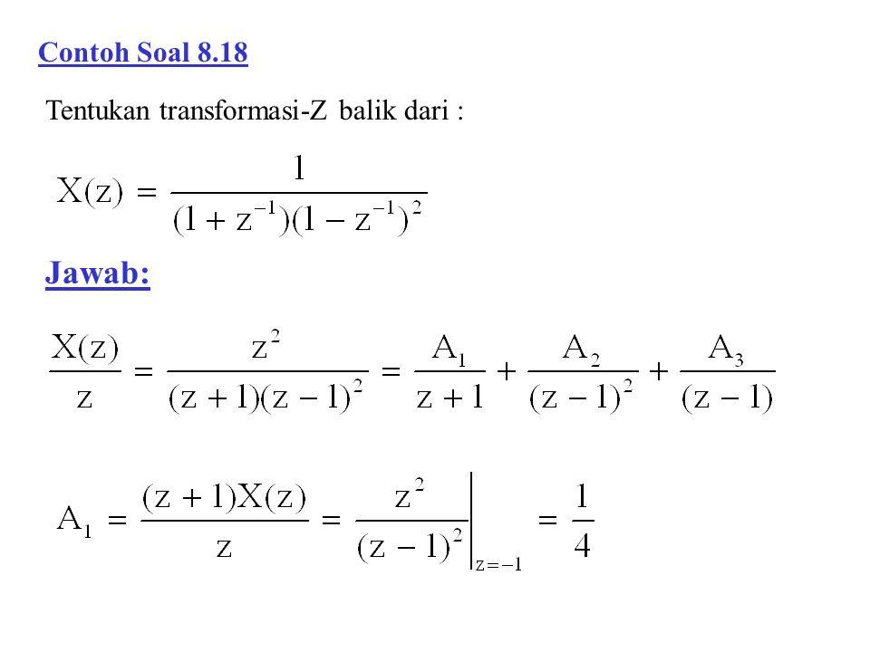 Contoh Soal 8.18 Tentukan transformasi-Z balik dari : Jawab:
