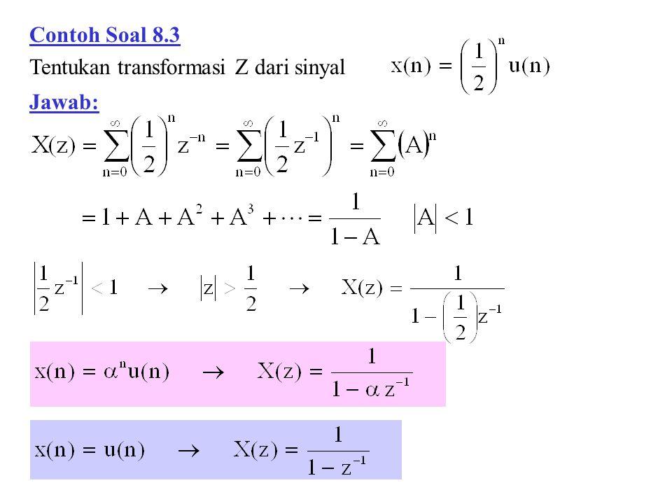 Contoh Soal 8.3 Tentukan transformasi Z dari sinyal Jawab: