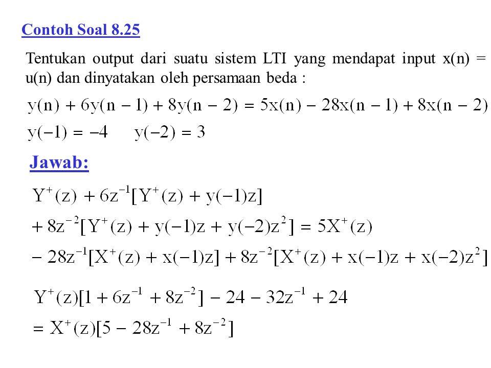 Contoh Soal 8.25 Tentukan output dari suatu sistem LTI yang mendapat input x(n) = u(n) dan dinyatakan oleh persamaan beda :