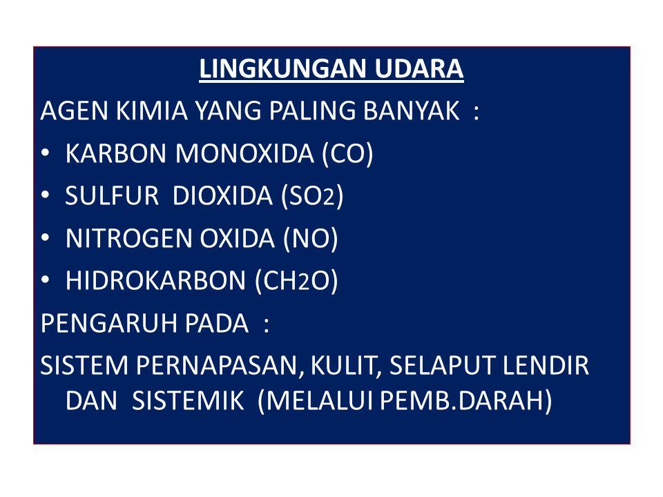 LINGKUNGAN UDARA AGEN KIMIA YANG PALING BANYAK : KARBON MONOXIDA (CO) SULFUR DIOXIDA (SO2) NITROGEN OXIDA (NO)