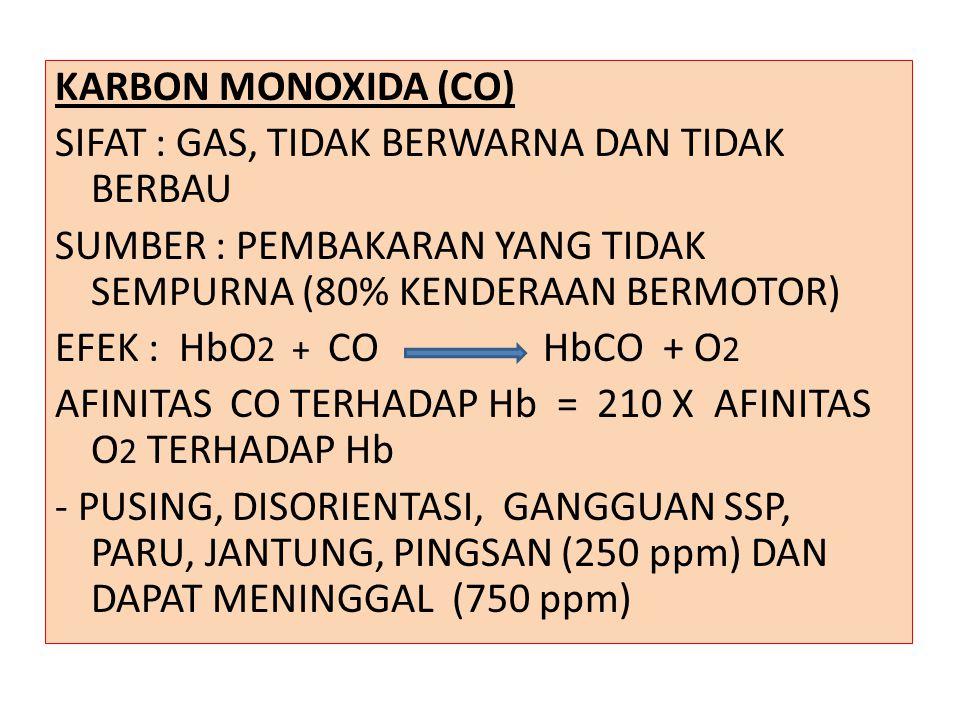 KARBON MONOXIDA (CO) SIFAT : GAS, TIDAK BERWARNA DAN TIDAK BERBAU SUMBER : PEMBAKARAN YANG TIDAK SEMPURNA (80% KENDERAAN BERMOTOR) EFEK : HbO2 + CO HbCO + O2 AFINITAS CO TERHADAP Hb = 210 X AFINITAS O2 TERHADAP Hb - PUSING, DISORIENTASI, GANGGUAN SSP, PARU, JANTUNG, PINGSAN (250 ppm) DAN DAPAT MENINGGAL (750 ppm)