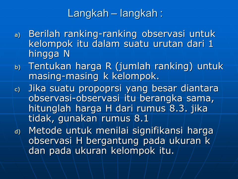 Langkah – langkah : Berilah ranking-ranking observasi untuk kelompok itu dalam suatu urutan dari 1 hingga N.
