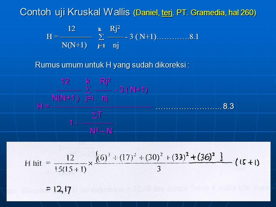 Contoh uji Kruskal Wallis (Daniel, terj. PT. Gramedia, hal 260)