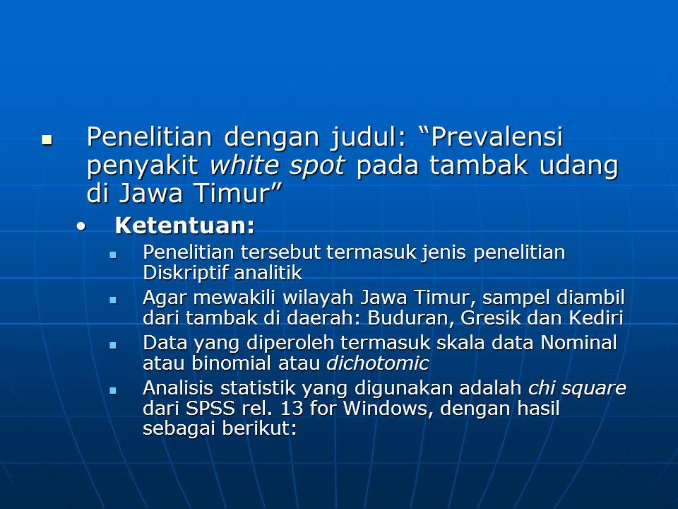 Penelitian dengan judul: Prevalensi penyakit white spot pada tambak udang di Jawa Timur