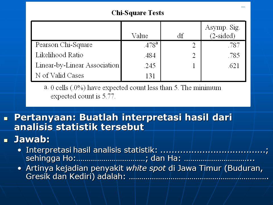 Pertanyaan: Buatlah interpretasi hasil dari analisis statistik tersebut