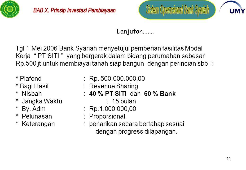Tgl 1 Mei 2006 Bank Syariah menyetujui pemberian fasilitas Modal Kerja PT SITI yang bergerak dalam bidang perumahan sebesar Rp.500 jt untuk membiayai tanah siap bangun dengan perincian sbb : * Plafond : Rp. 500.000.000,00 * Bagi Hasil : Revenue Sharing * Nisbah : 40 % PT SITI dan 60 % Bank * Jangka Waktu : 15 bulan * By. Adm : Rp.1.000.000,00 * Pelunasan : Proporsional. * Keterangan : penarikan secara bertahap sesuai dengan progress dilapangan.