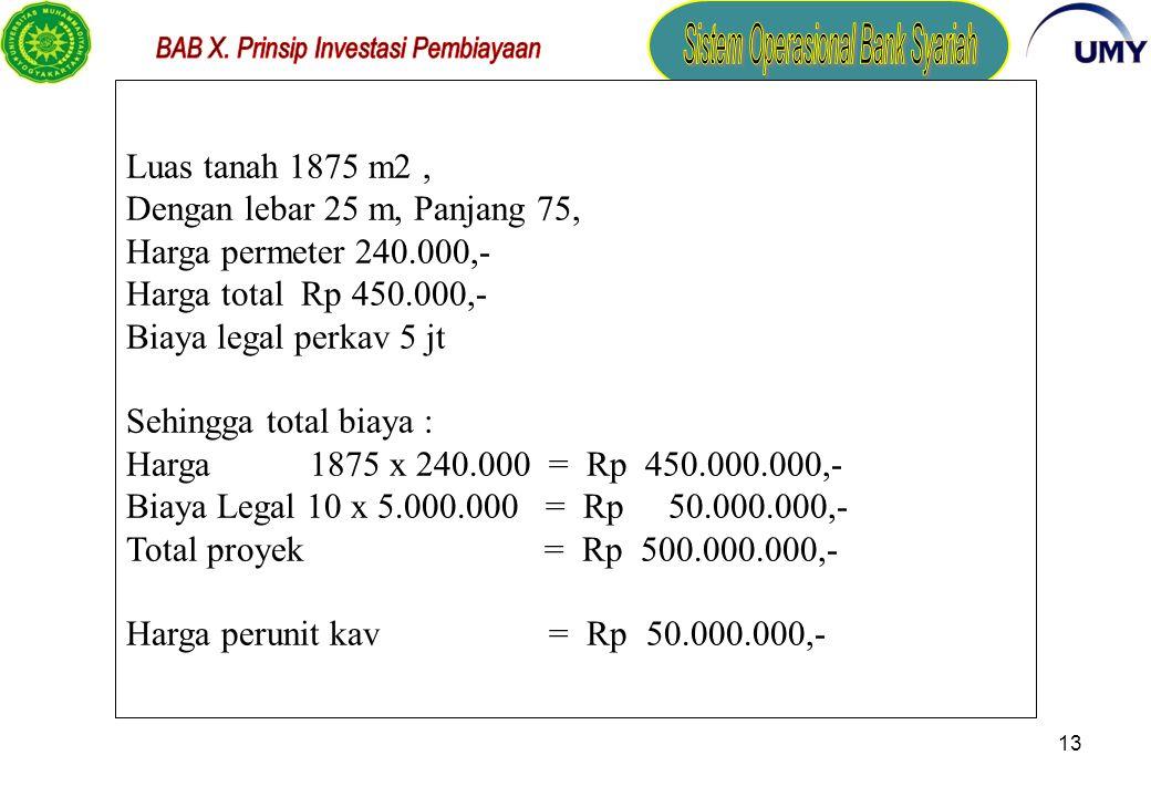Luas tanah 1875 m2 , Dengan lebar 25 m, Panjang 75, Harga permeter 240.000,- Harga total Rp 450.000,-
