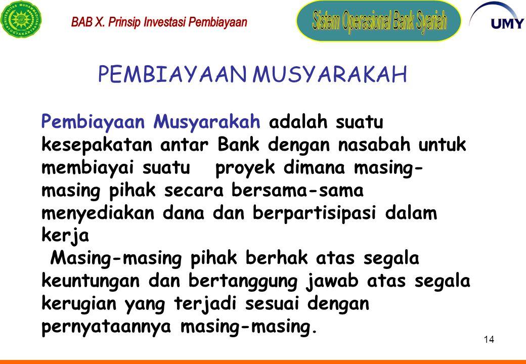 PEMBIAYAAN MUSYARAKAH