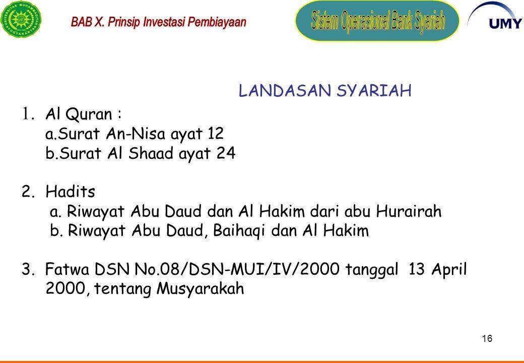 1. Al Quran : LANDASAN SYARIAH a.Surat An-Nisa ayat 12