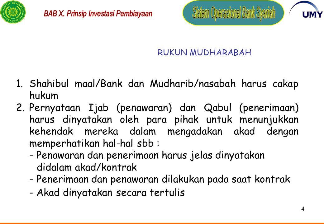 Shahibul maal/Bank dan Mudharib/nasabah harus cakap hukum