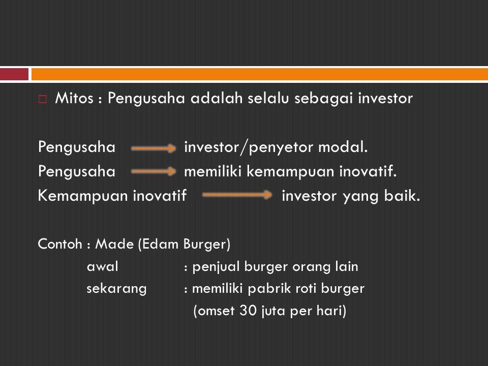 Mitos : Pengusaha adalah selalu sebagai investor