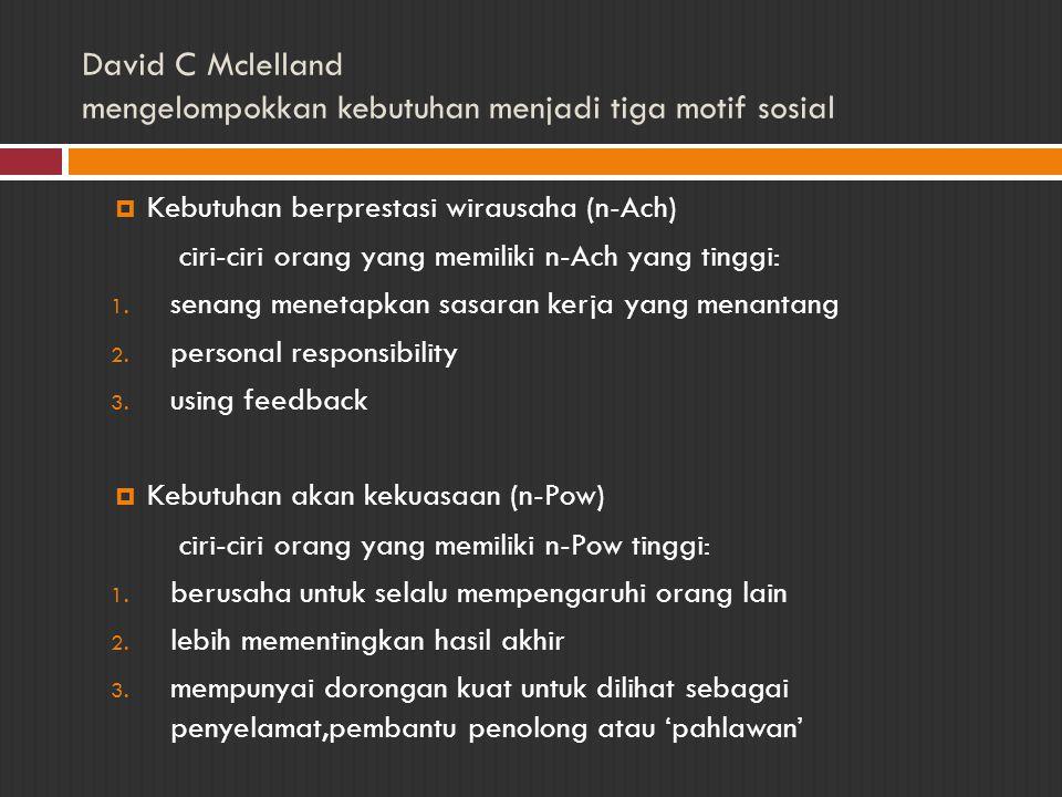 David C Mclelland mengelompokkan kebutuhan menjadi tiga motif sosial