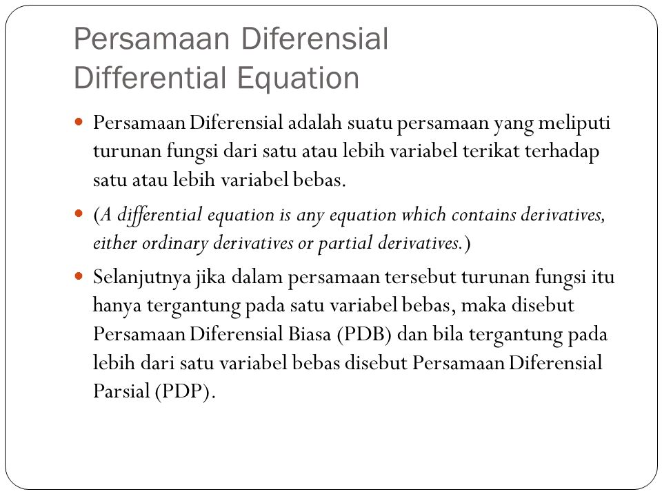Persamaan Diferensial Differential Equation