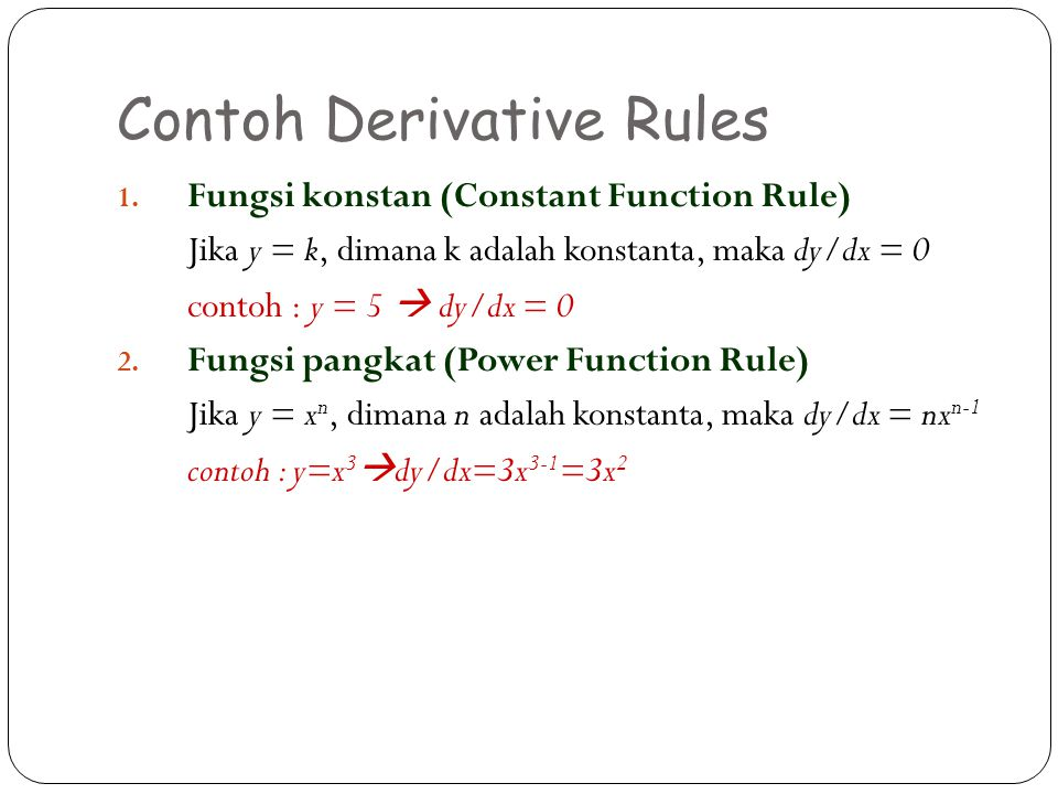Contoh Derivative Rules