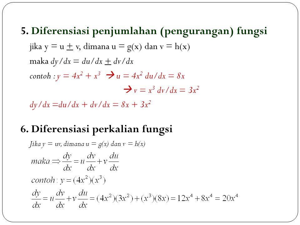 5. Diferensiasi penjumlahan (pengurangan) fungsi