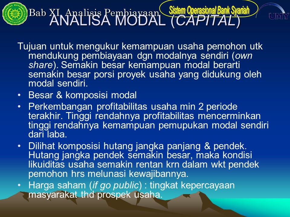 ANALISA MODAL (CAPITAL)