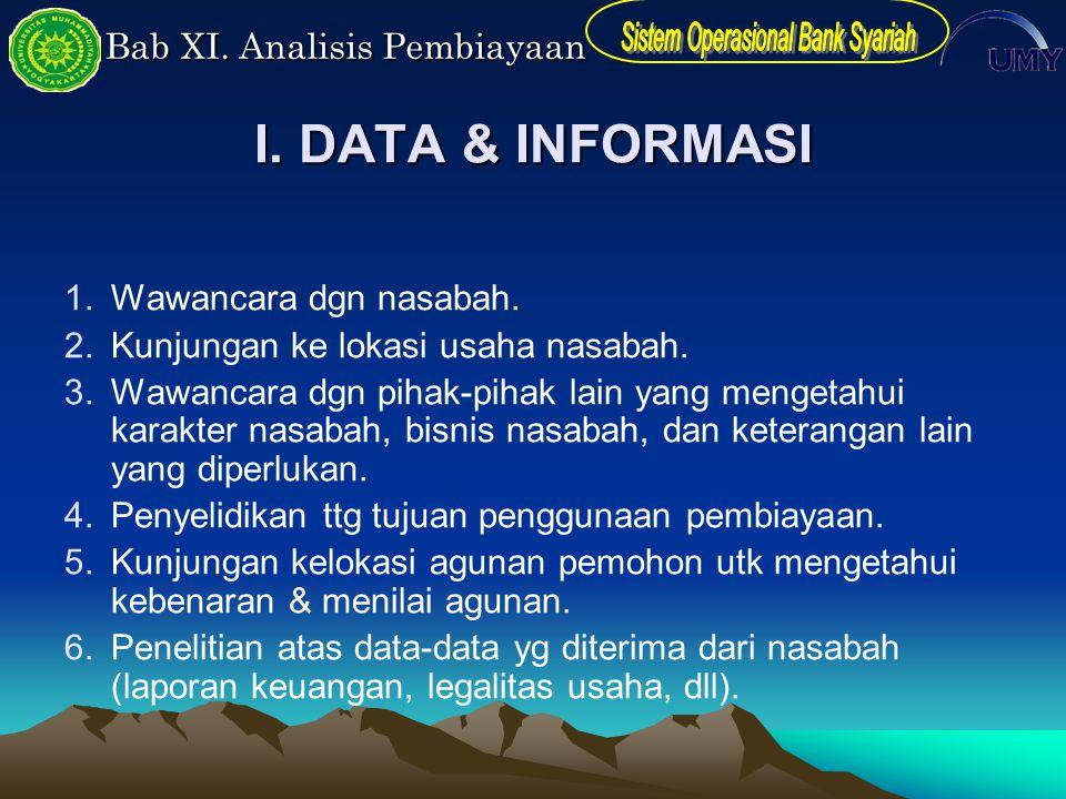 I. DATA & INFORMASI Wawancara dgn nasabah.