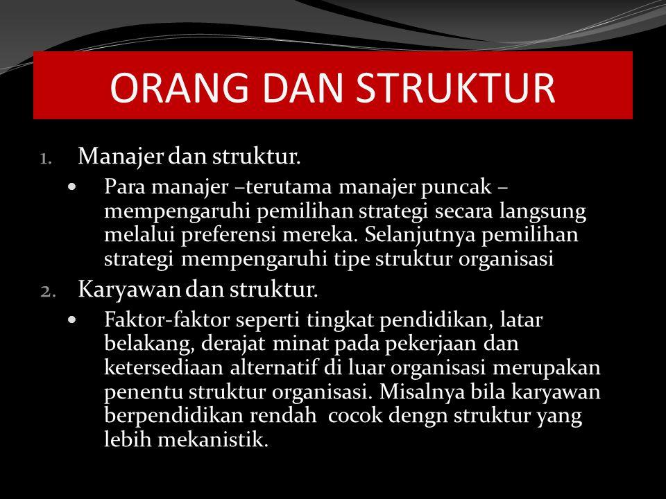 ORANG DAN STRUKTUR Manajer dan struktur. Karyawan dan struktur.