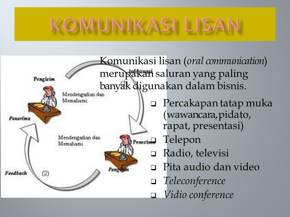 KOMUNIKASI LISAN Komunikasi lisan (oral communication) merupakan saluran yang paling banyak digunakan dalam bisnis.