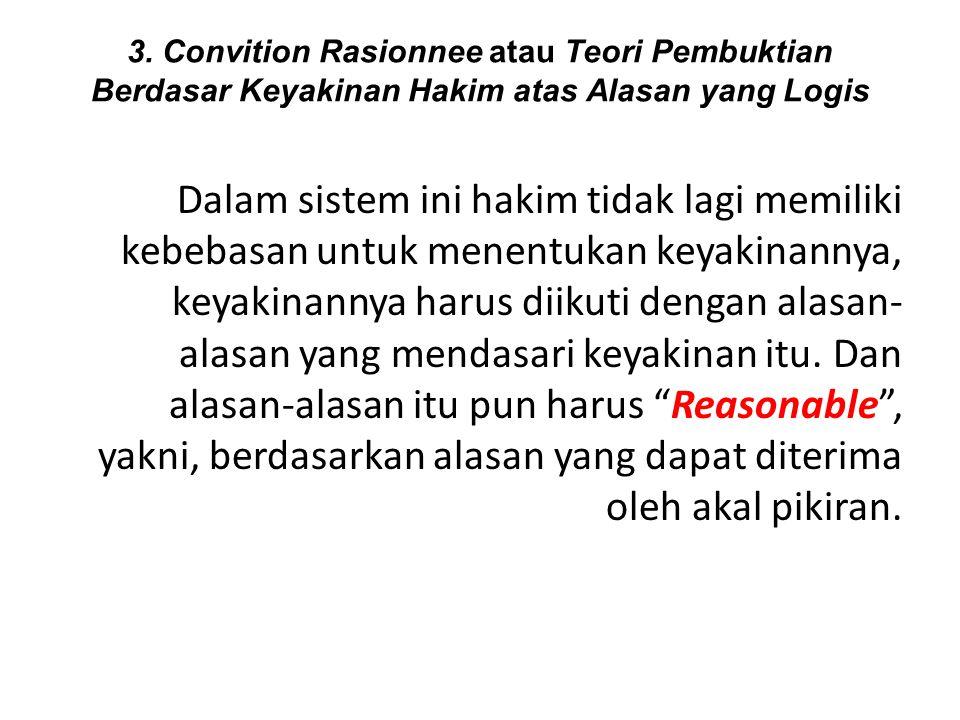 3. Convition Rasionnee atau Teori Pembuktian Berdasar Keyakinan Hakim atas Alasan yang Logis