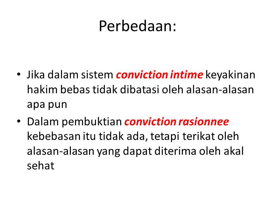 Perbedaan: Jika dalam sistem conviction intime keyakinan hakim bebas tidak dibatasi oleh alasan-alasan apa pun.