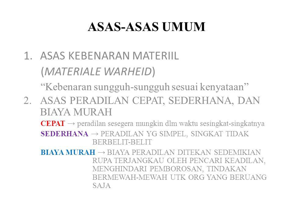 ASAS-ASAS UMUM ASAS KEBENARAN MATERIIL (MATERIALE WARHEID)