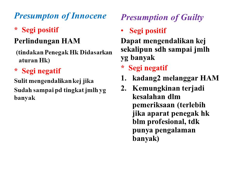 Presumpton of Innocene Presumption of Guilty
