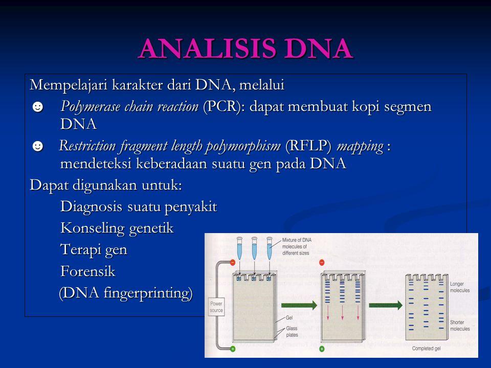 ANALISIS DNA Mempelajari karakter dari DNA, melalui