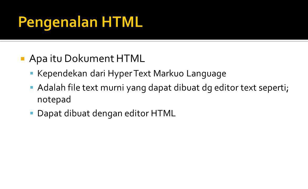 Pengenalan HTML Apa itu Dokument HTML