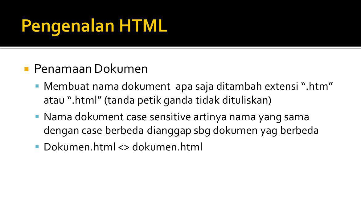 Pengenalan HTML Penamaan Dokumen