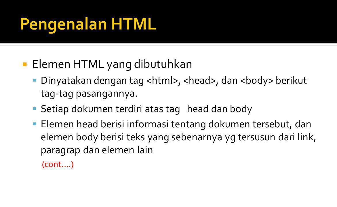 Pengenalan HTML Elemen HTML yang dibutuhkan