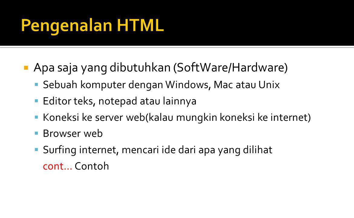 Pengenalan HTML Apa saja yang dibutuhkan (SoftWare/Hardware)