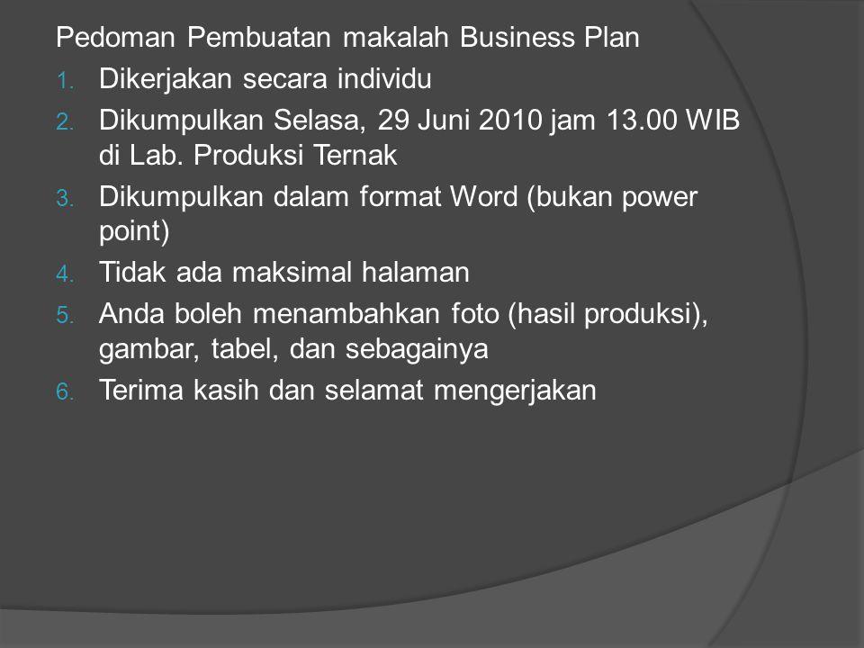 Pedoman Pembuatan makalah Business Plan