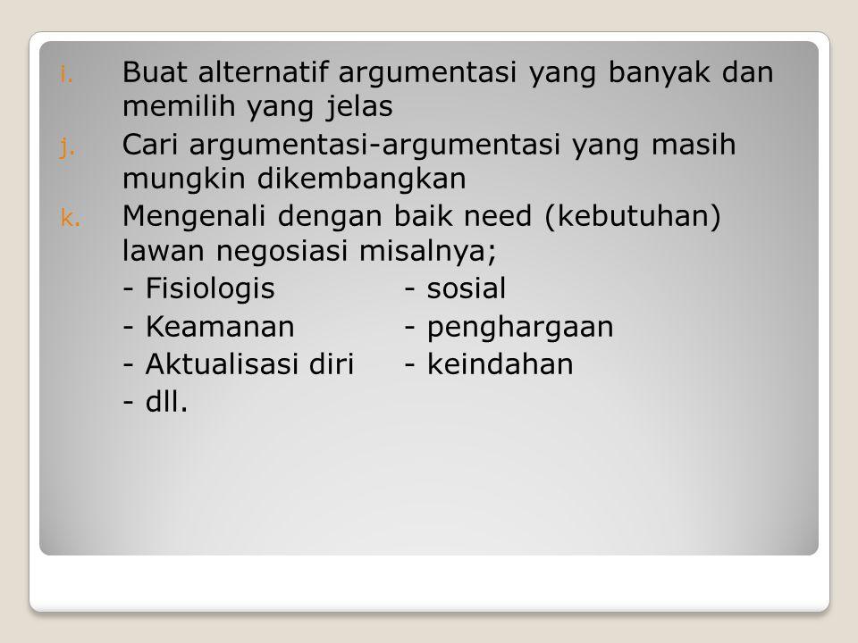 Buat alternatif argumentasi yang banyak dan memilih yang jelas