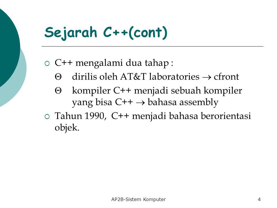 Sejarah C++(cont) C++ mengalami dua tahap :
