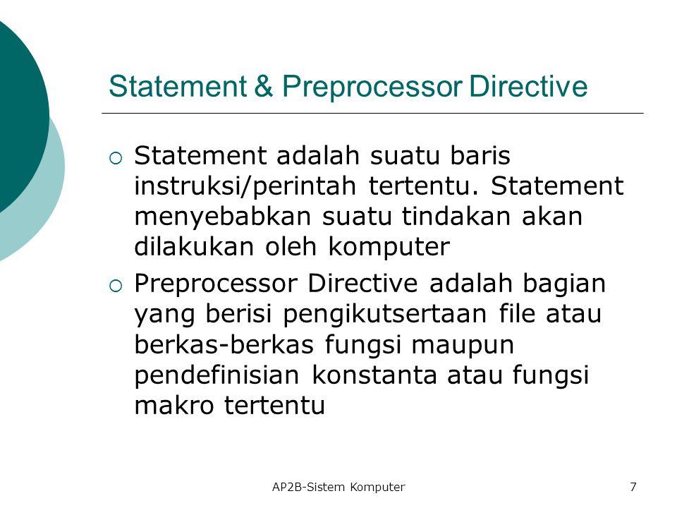 Statement & Preprocessor Directive