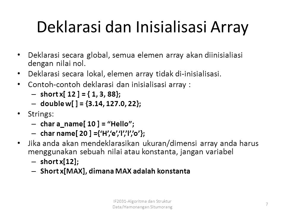 Deklarasi dan Inisialisasi Array