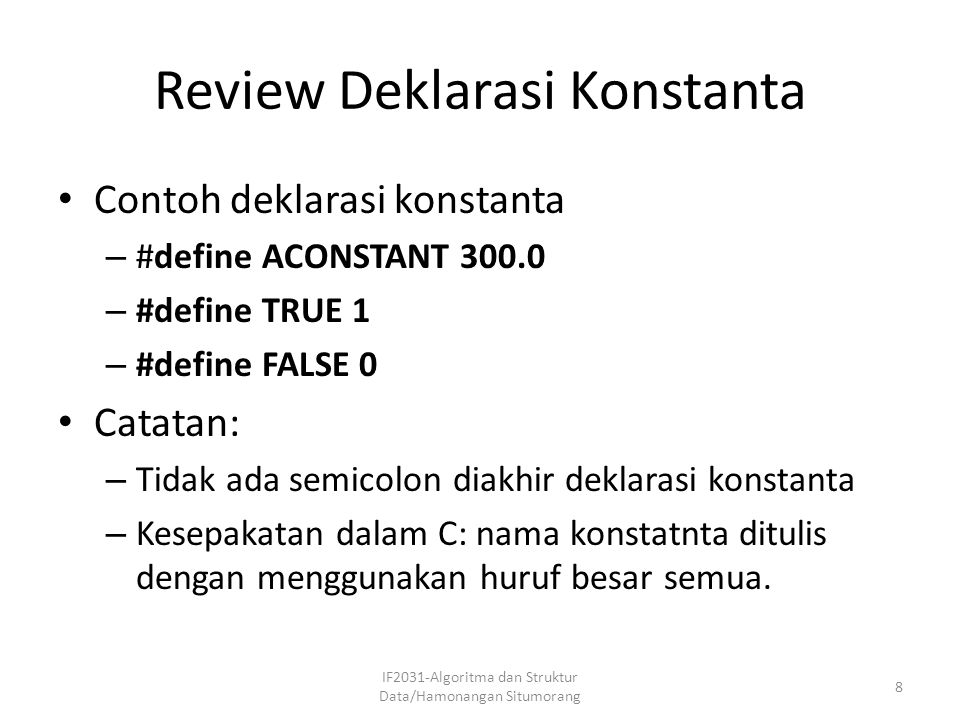 Review Deklarasi Konstanta