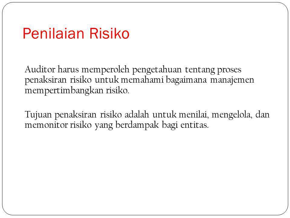 Penilaian Risiko Auditor harus memperoleh pengetahuan tentang proses penaksiran risiko untuk memahami bagaimana manajemen mempertimbangkan risiko.
