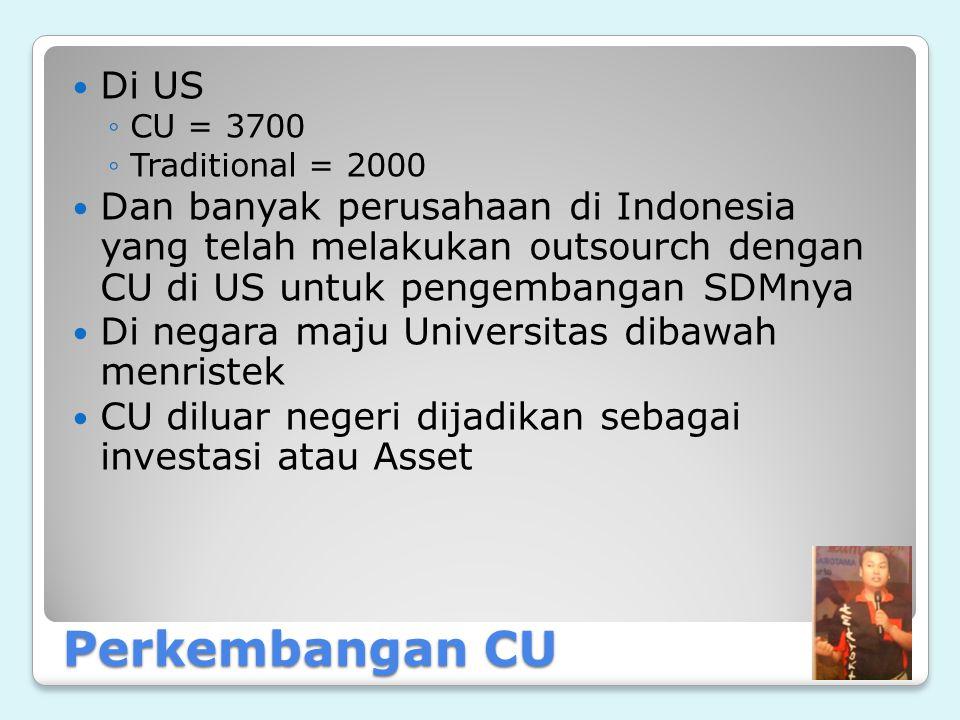 Di US CU = 3700. Traditional = 2000. Dan banyak perusahaan di Indonesia yang telah melakukan outsourch dengan CU di US untuk pengembangan SDMnya.