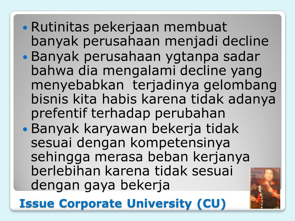Issue Corporate University (CU)