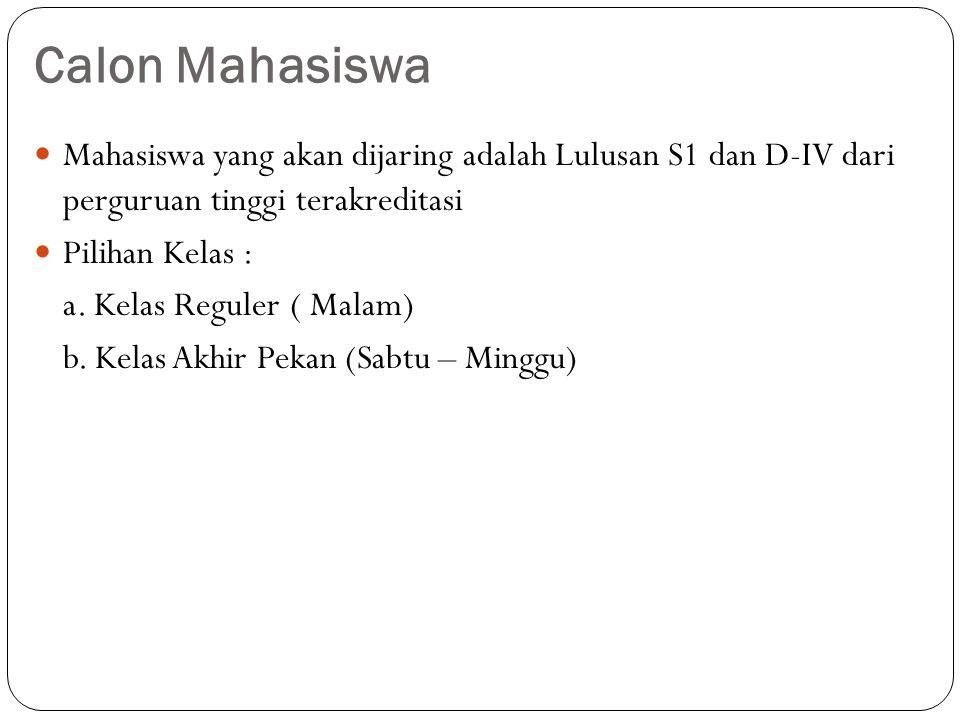 Calon Mahasiswa Mahasiswa yang akan dijaring adalah Lulusan S1 dan D-IV dari perguruan tinggi terakreditasi.