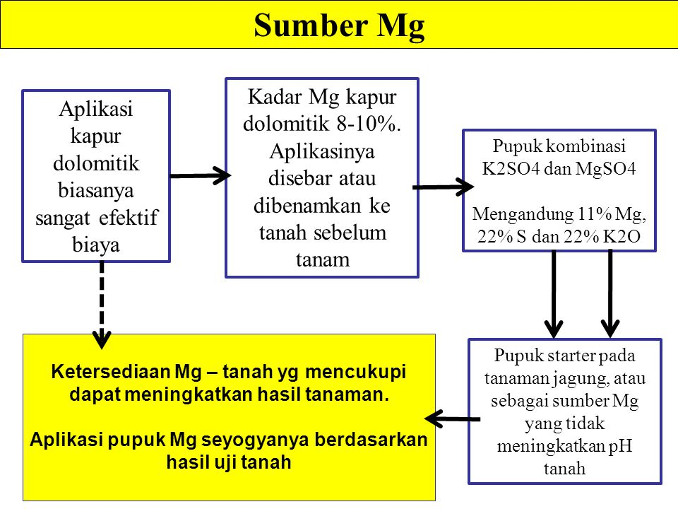 Sumber Mg Kadar Mg kapur dolomitik 8-10%.