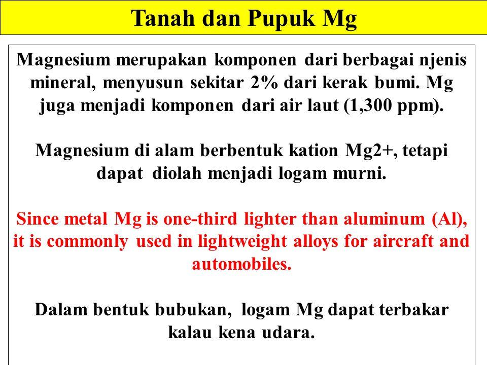 Dalam bentuk bubukan, logam Mg dapat terbakar kalau kena udara.