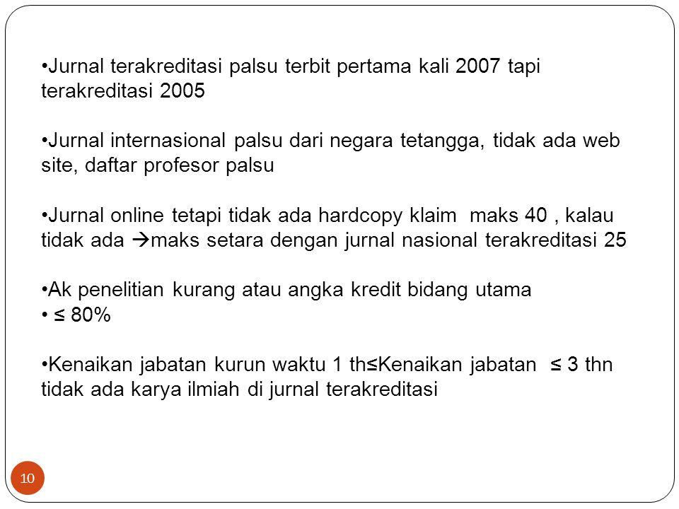 Jurnal terakreditasi palsu terbit pertama kali 2007 tapi terakreditasi 2005