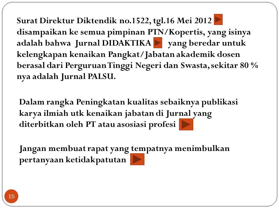 Surat Direktur Diktendik no. 1522, tgl
