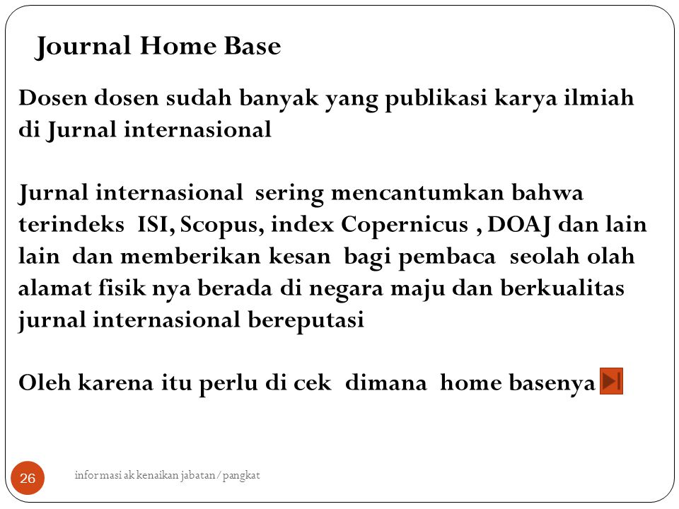 Journal Home Base Dosen dosen sudah banyak yang publikasi karya ilmiah di Jurnal internasional.