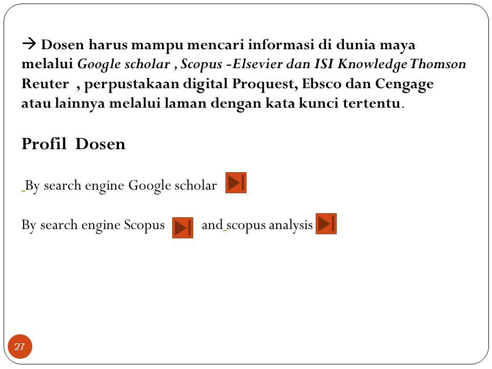  Dosen harus mampu mencari informasi di dunia maya melalui Google scholar , Scopus -Elsevier dan ISI Knowledge Thomson Reuter , perpustakaan digital Proquest, Ebsco dan Cengage atau lainnya melalui laman dengan kata kunci tertentu.